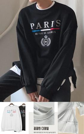 Paris embroidery overfit Sweatshirt